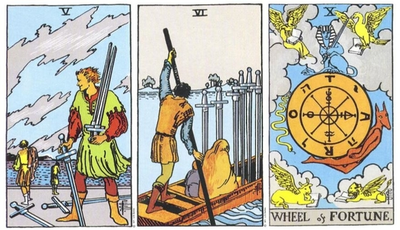 Rider Waite Smith Tarot - 5 of Swords, 6 of Swords, Wheel of Fortune.