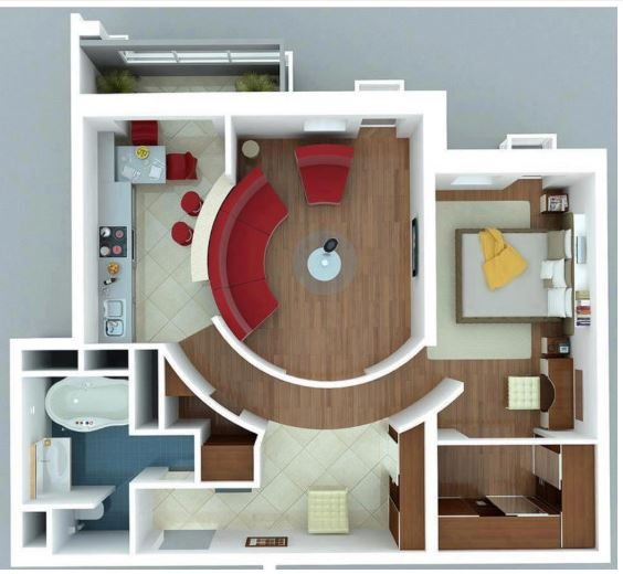 small 3D floor plan, one bedroom house plans 3D
