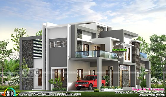 Contemporary residence in grey and white combination