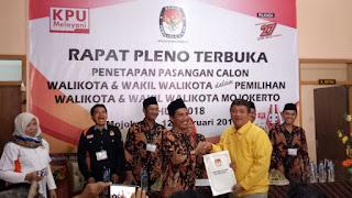 Pleno Terbuka Penetapan Calon Walikota - Wakil Walikota Mojokerto Digelar, Empat Paslon Kompak Absen
