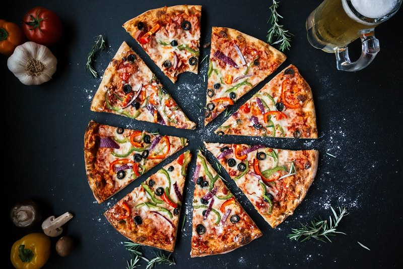 pizza, ntomata, skordo, mpira, piperies, manitaria