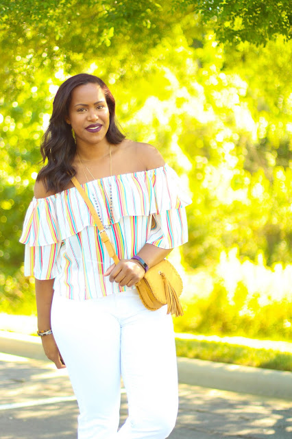 Summer Style : Striped Off the Shoulder Blouse