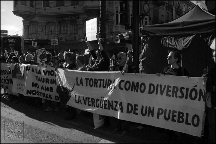 manifestación,fotografía,valencia,tortura,taurina,animalista