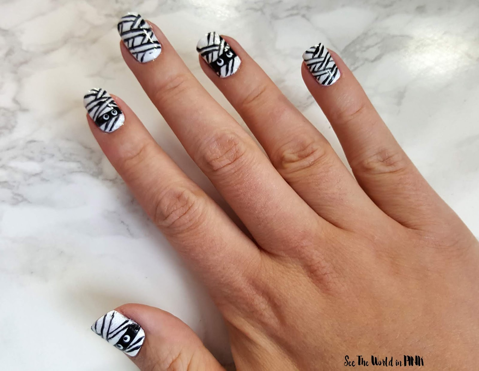 Manicure Monday - Halloween Monster Mummy Nails!