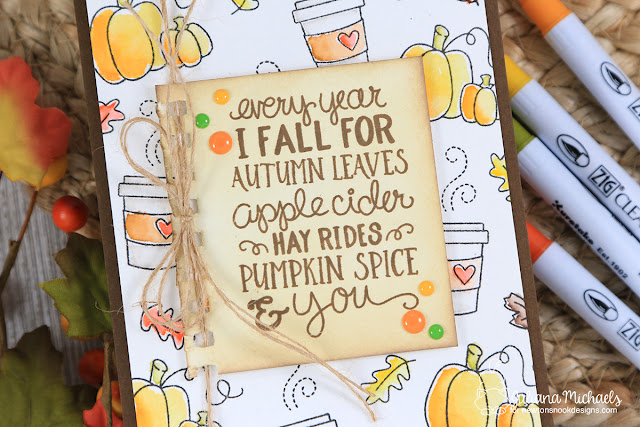 Pumpkin Spice Coffee Card by Juliana Michaels featuring Newton's Nook Designs Falling For You Stamp Set