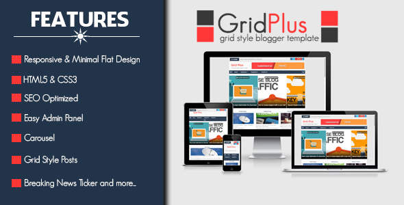 Grid Plus - Grid Style Responsive Grid Style Blogger Template