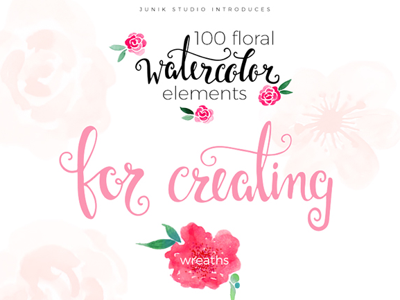 Download 100 Floral Watercolor Elements Free