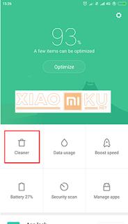 menggunakan aplikasi cleaner xiaomi