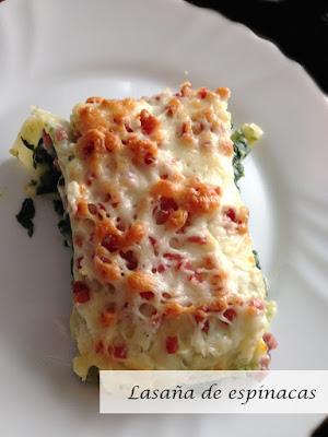 Lasagna de espinacas y jamon