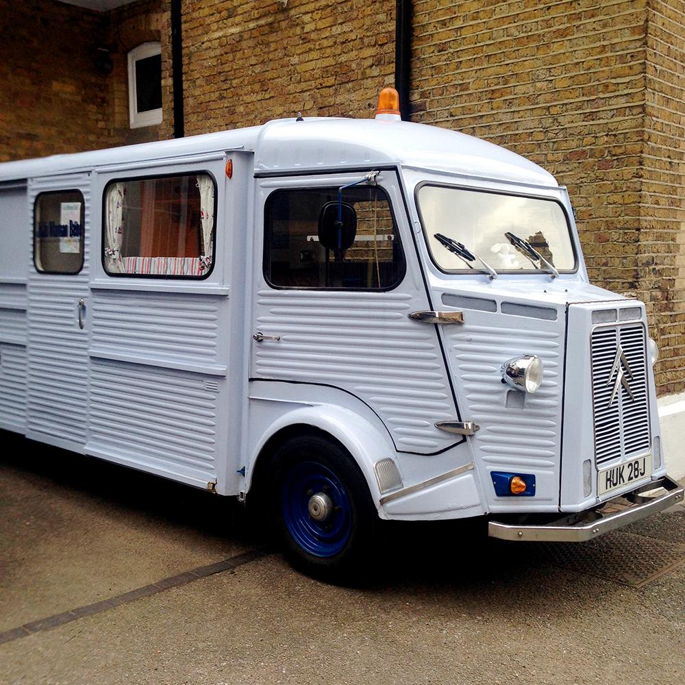 pastel blue van, caravan, promotional, jojo maman bebe