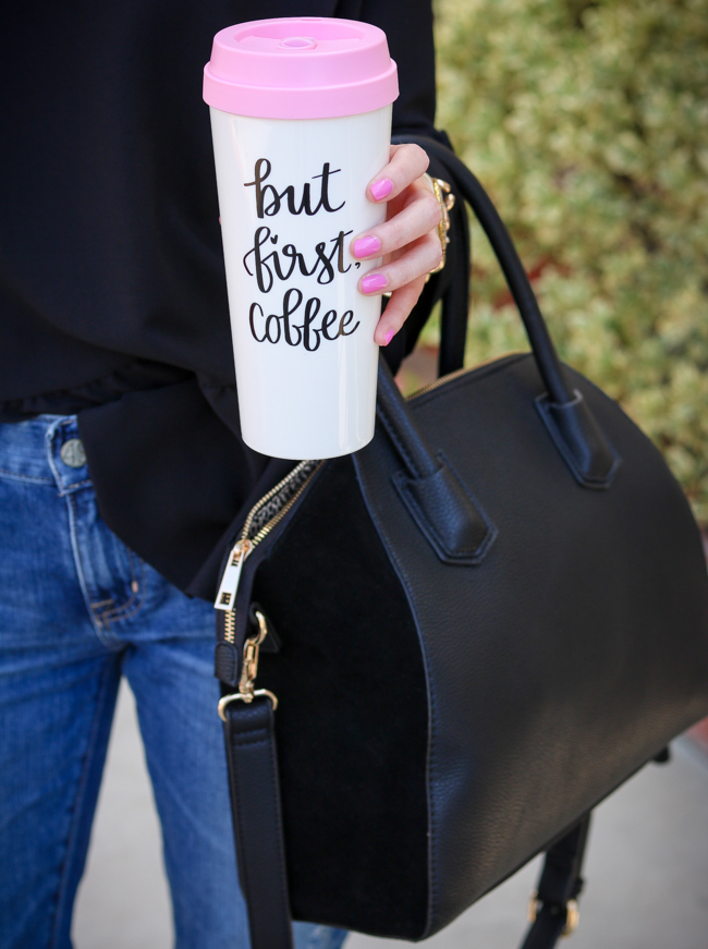 sweet water decor coffee tumbler black sole society tote