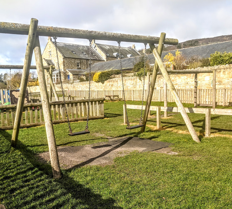 Rothbury Riverside Walk, Picnic Spots & Playground  - swings by the river