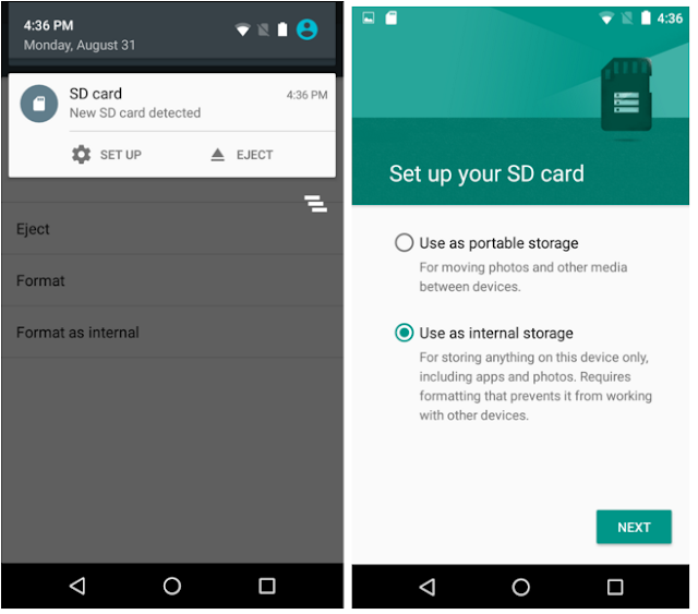 Android Marshmallow Adaptable Storage