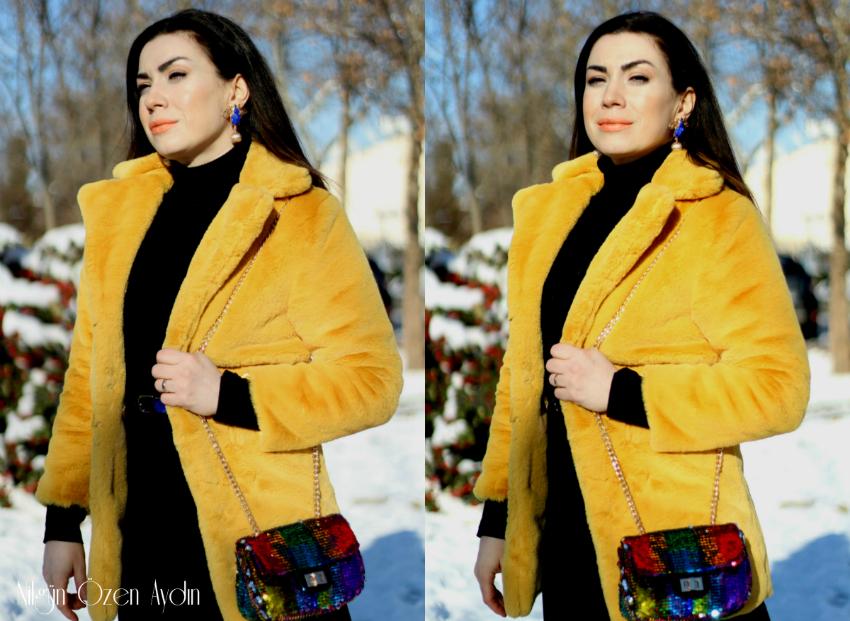 moda blogu-fashion blogger-safran sarı peluş kaban-arılı küpe