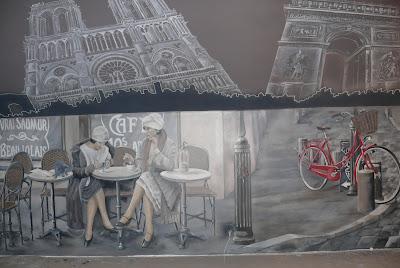 Aranżacja ściany w barze, malarstwo ścienne, Gdańsk, wytrój ściany w barze