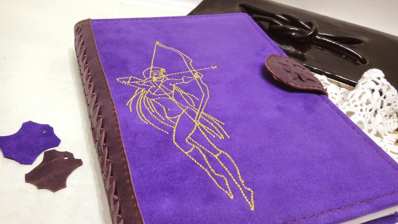 Фиолетовый кожаный ежедневник А5 для девушки Стрельца