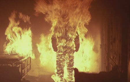 Michael Myers The Shape is set on fire by dr. loomis and nearly dies.