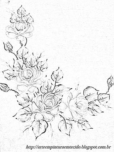 pintura em tecido risco de rosas toalha de mesa