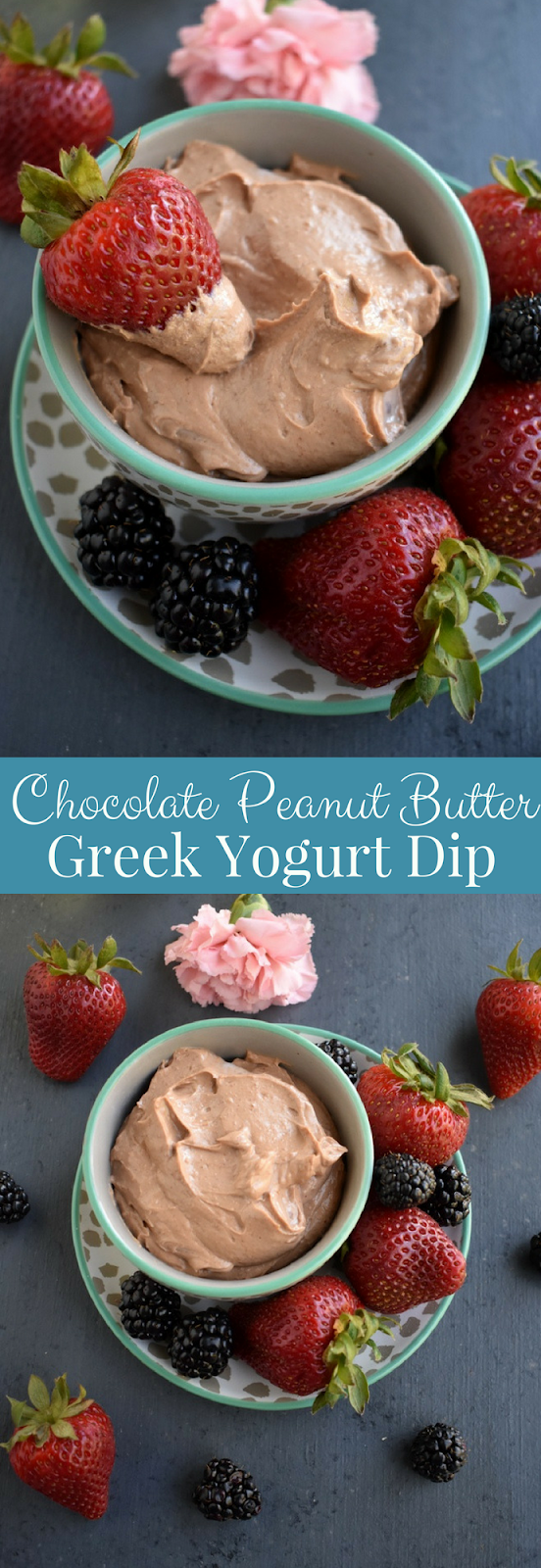 Chocolate Peanut Butter Greek Yogurt Dip is super easy to make with 4 ingredients! Pair with fruit, pretzels and more for a healthier delicious snack. www.nutritionistreviews.com
