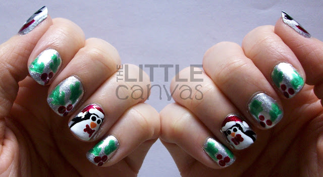 Penguin and Holly Nail Art :) - The Little Canvas