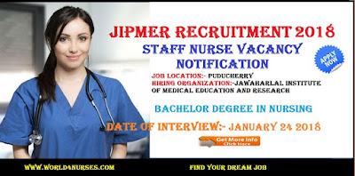 JIPMER Puducherry Junior Nurse Study Nurse Vacancy  2018