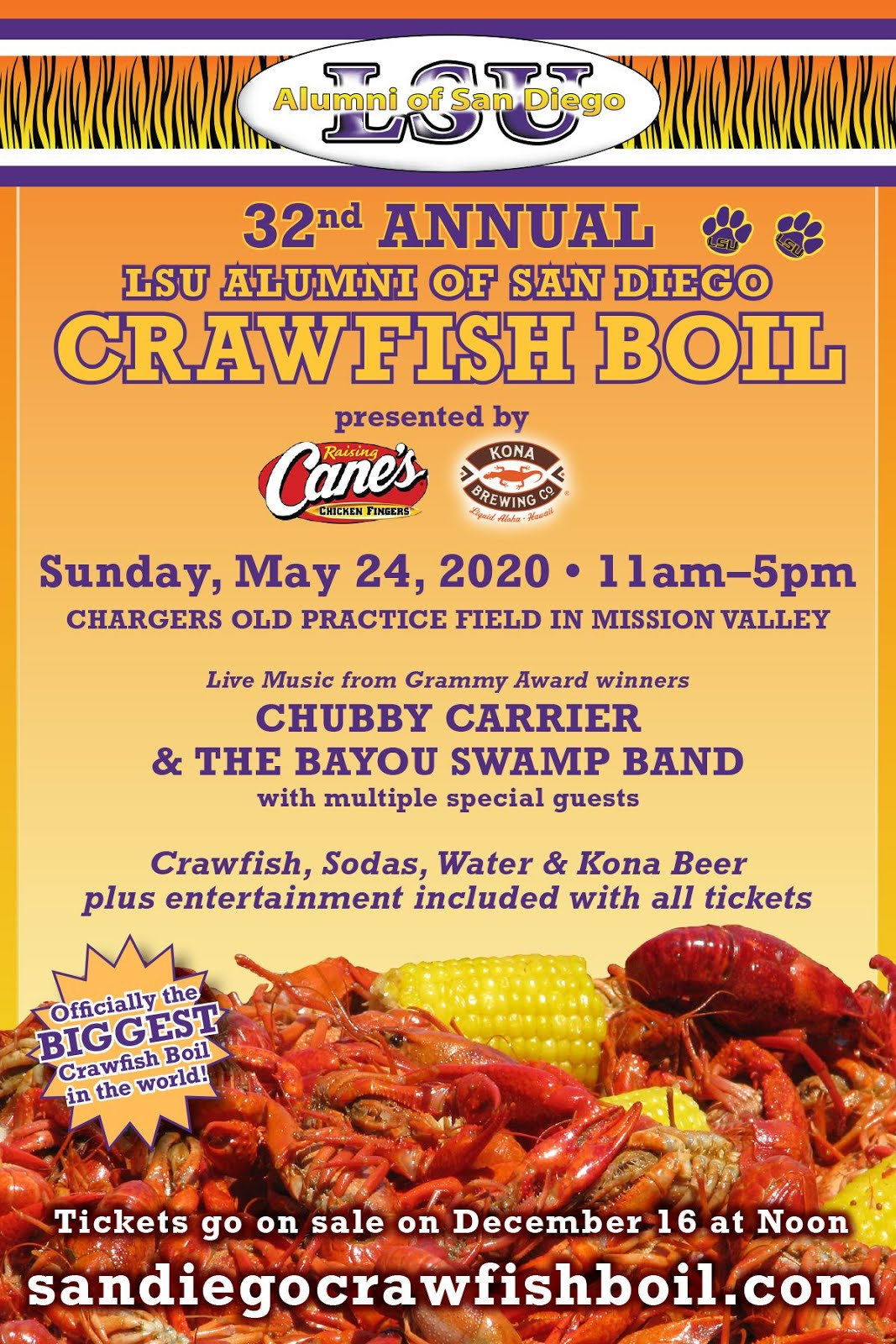 Save on tickets & tables to the LSU San Diego Crawfish Boil - May 24!!