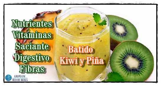 Batido Piña, Kiwi y Agua de Coco