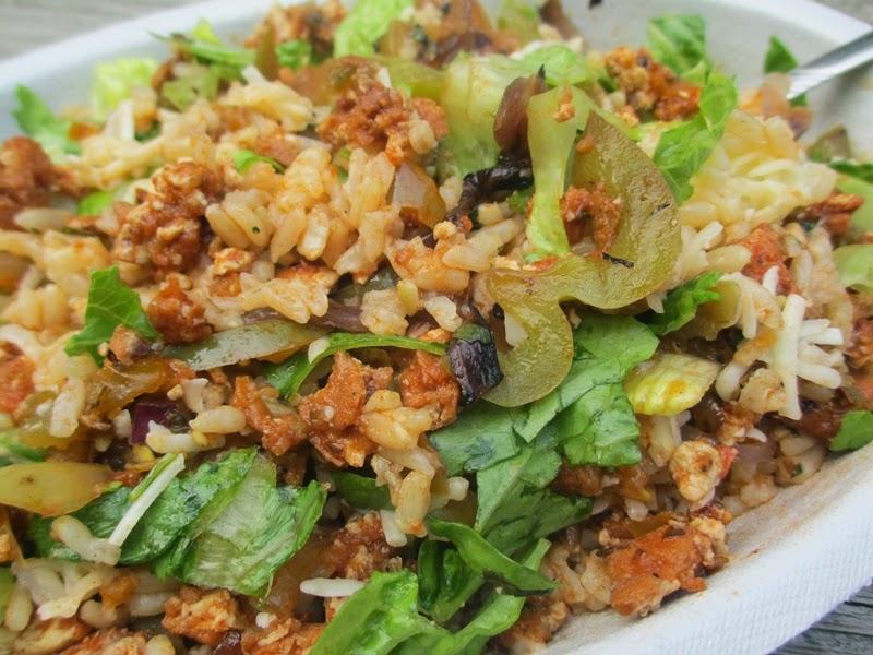 Chipotle Sofritas Burrito Bowl with Lettuce, Cheese, Fajita Veggies, Brown Rice, and Green Tomatilla Salsa