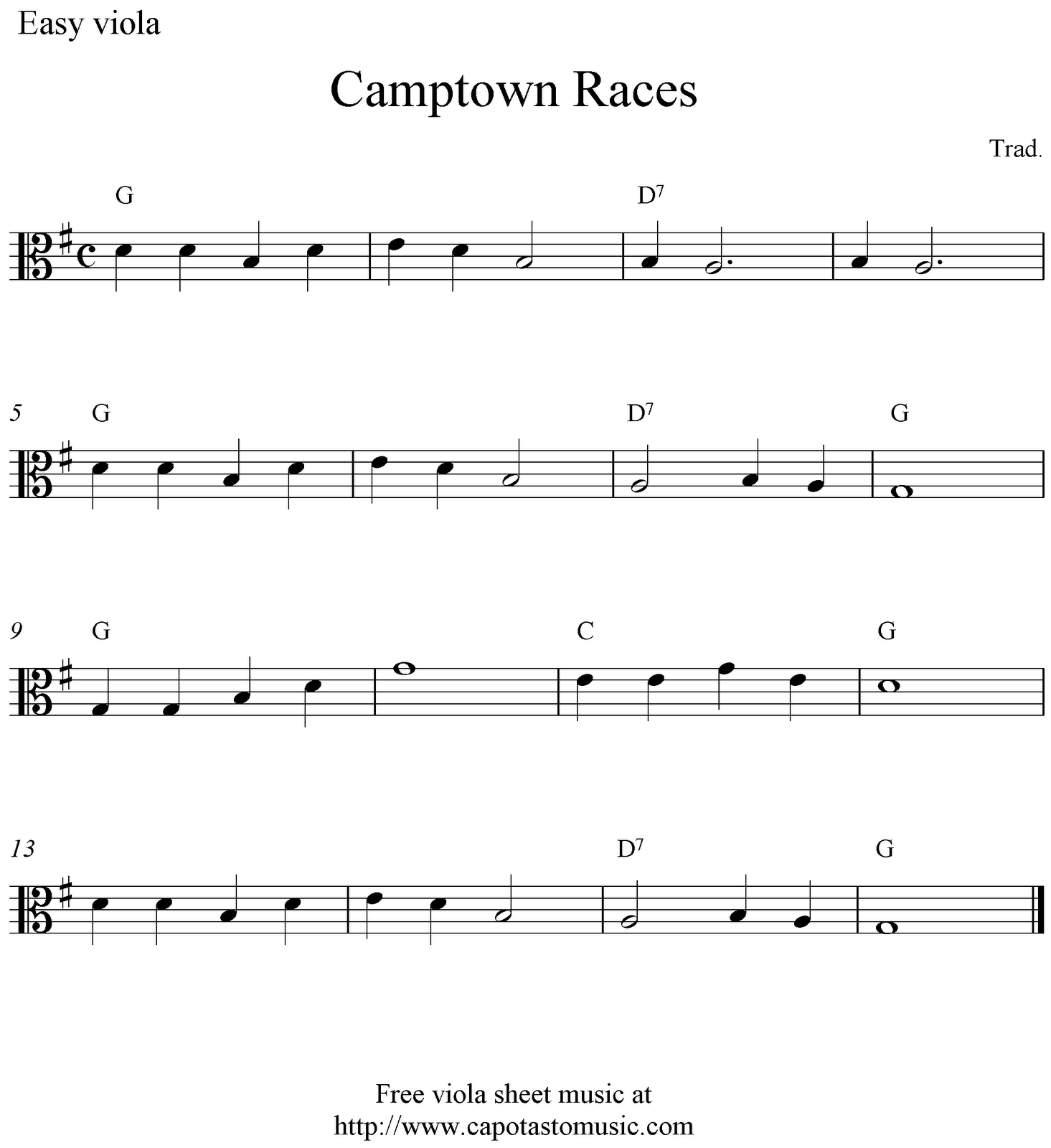 Free Easy Viola Sheet Music, Camptown Races