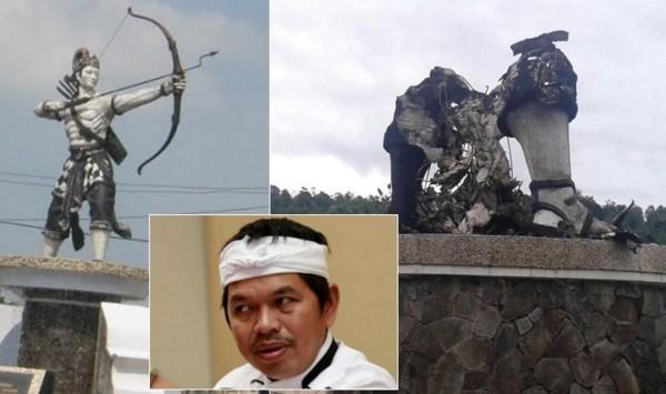Dimana Patung Arjuna Setinggi 7 meter Dibakar OTK, Bupati Ini Padam Muka Dan Marah