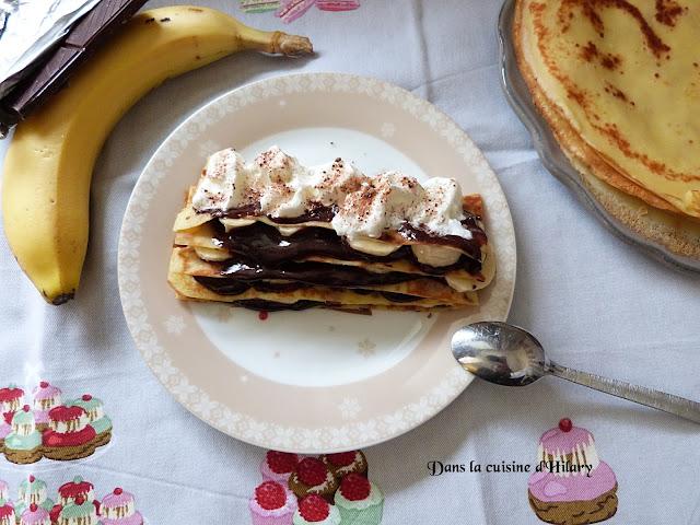 Millefeuille de crêpes gourmand chocolat banane - Dans la cuisine d'Hilary