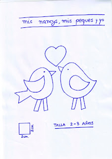 mis nancys, mis peques y yo, tutorial aplique en camiseta, birds in love, patron