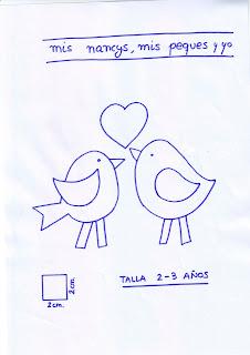 mis nancys, mis peques y yo, tutorial aplique en camiseta, birds in love, patron