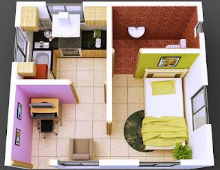 Desain interior rumah minimalis tipe 36 3D