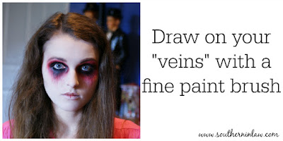 Draw Your Veins Using Black Face Paint and a Fine Brush - Zombie Makeup Tutorial Halloween Face Painting