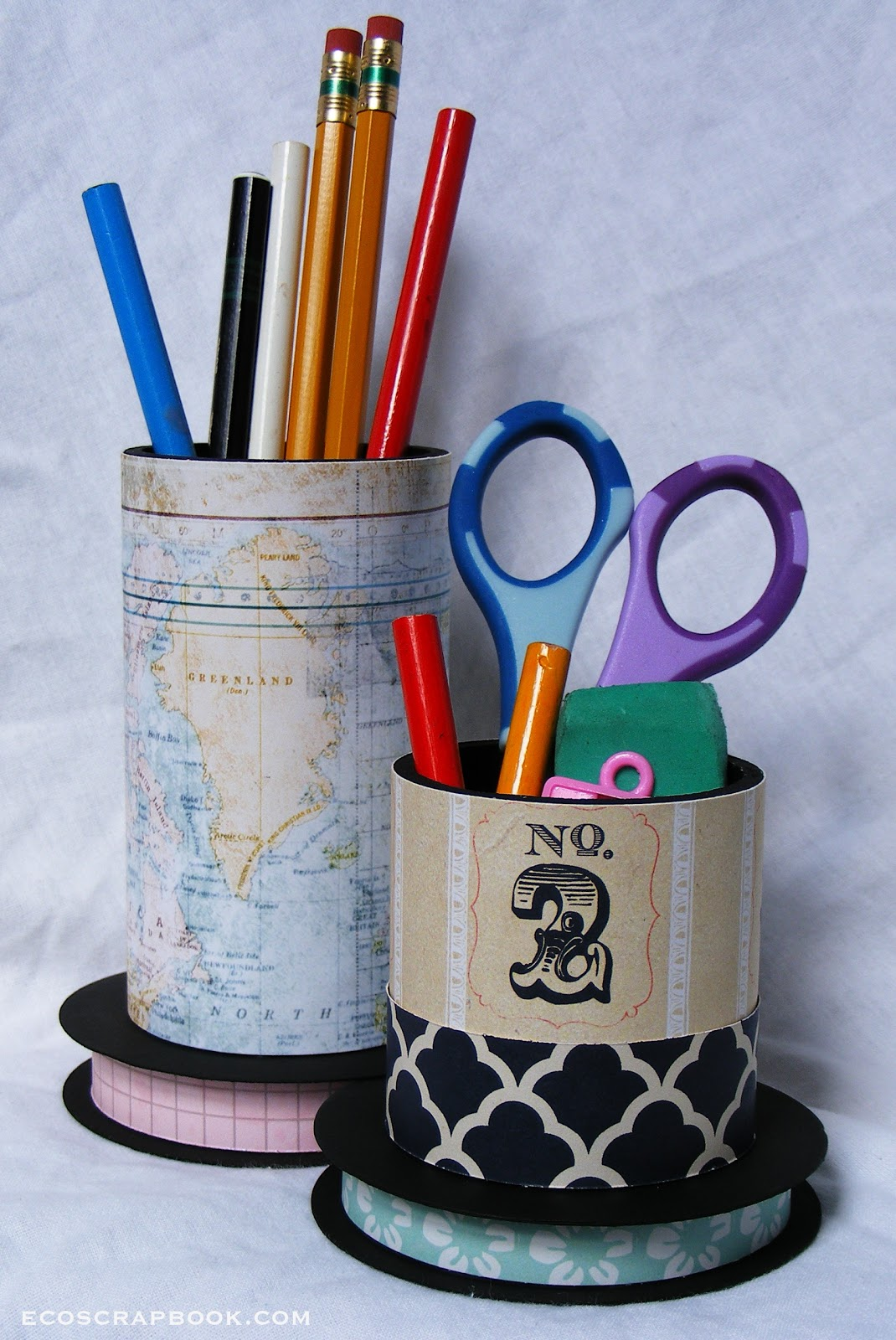 EcoScrapbook: Back-to-school project tutorial: Upcycled pencil holders