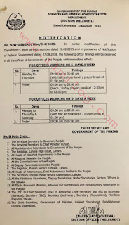 Notification regarding Office Timings