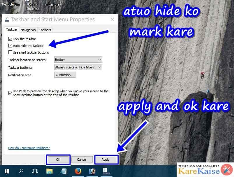 Auto hide/show taskbar kaise banaye
