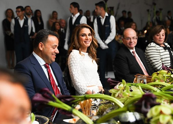 Queen Rania and JRF Director General Enaam Barrishi attend fundraiser gala dinner at the Four Seasons Hotel Amman