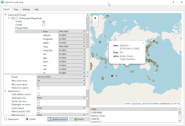 QGIS Web map with pop up window