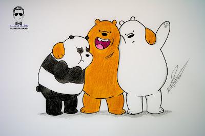 تعليم رسم الدببة الثلاثة