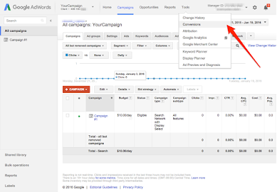 Google Adwords tool - Conversions