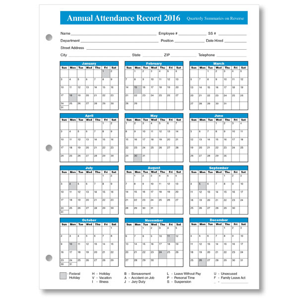 get printable calendar 2016 employee attendance calendar printable. Black Bedroom Furniture Sets. Home Design Ideas