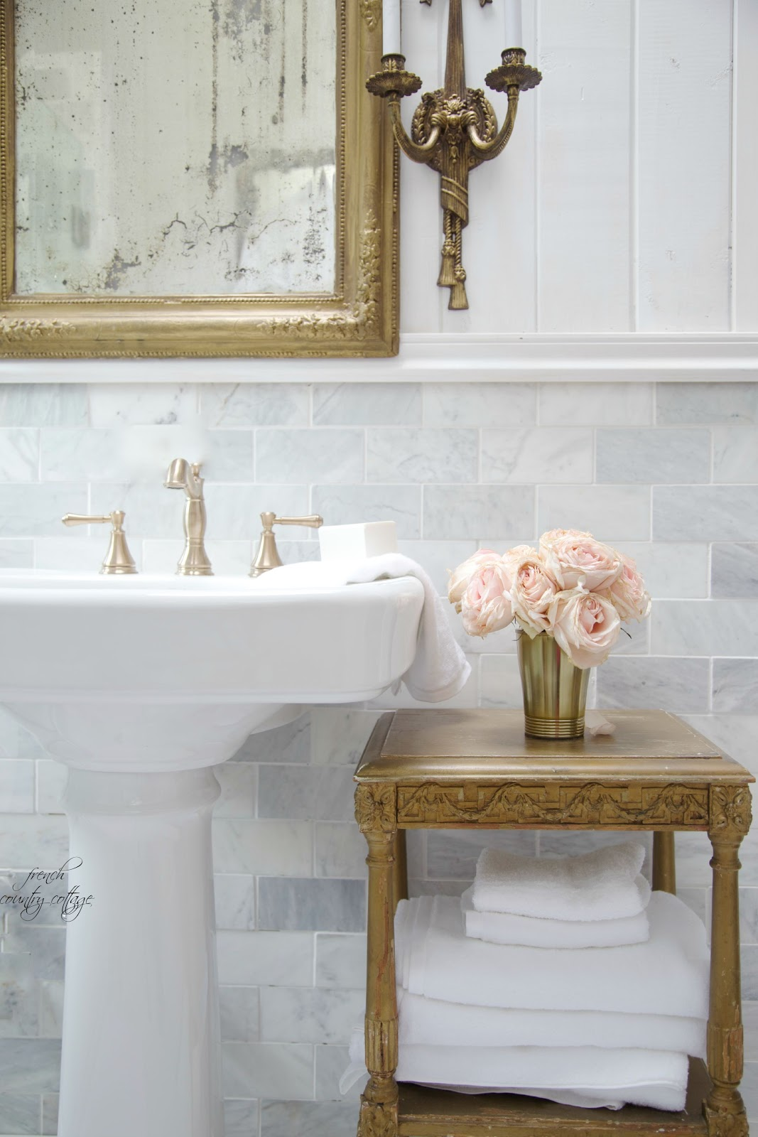 Marble Subway Tile Wall French Country Cottage