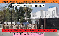 High Court of Uttarakhand Recruitment 2017– Additional Districts & Sessions Judge