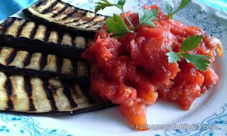 Гриловани патладжани с домати конкасе