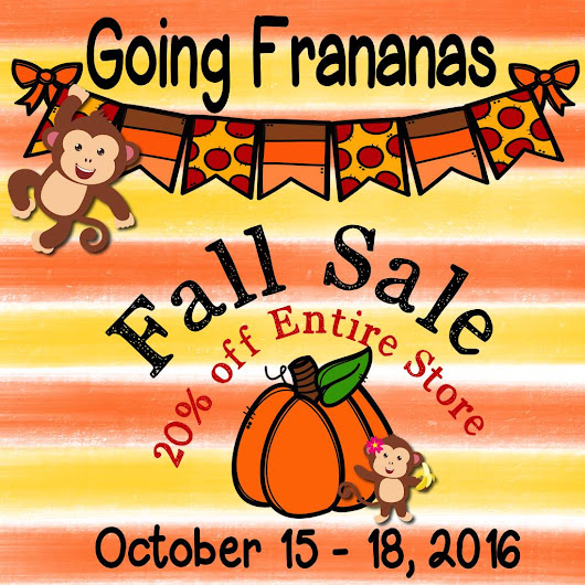 Fall Sale 20% Entire Store October 15-18, 2016