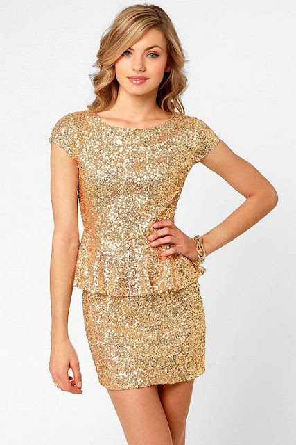Gold Sequin Dress with peplum waistline: New Year Eve Outift