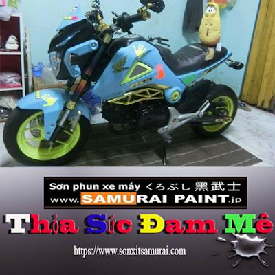 Sơn vỏ xe máy màu xanh 312
