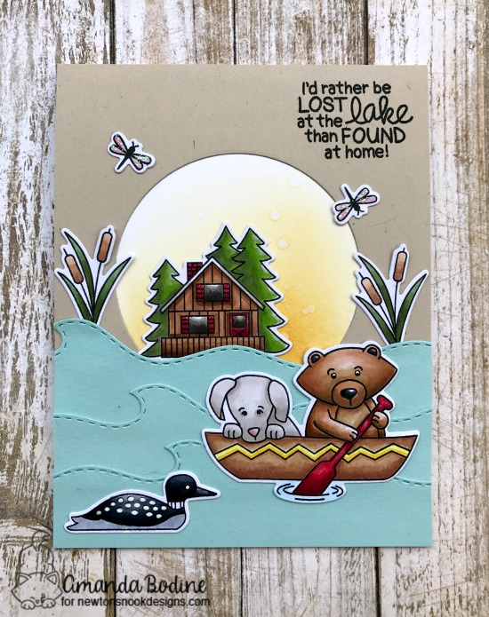 Lost at the Lake Card by Amanda Bodine | Winston's Lake House Stamp set by Newton's Nook Designs  #newtonsnook